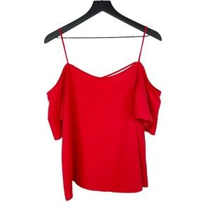BP. Cold Shoulder Top Blouse Red Flowy Chiffon